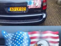 Eagle en Amerikaanse vlag. Airbrush op auto.