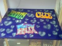 Airbrush werk op bureaublad meisjes kamer.
