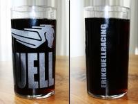 Glas geëtst met motor logo BUELL.