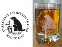 chesapeakebayretriever-logo, glas etsen Laren.