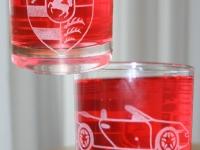 Whiskeyglas gezandstraald met logo Porsche,