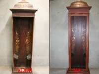 Restauratie antieke klok.Hout imitatie, pinstripes.