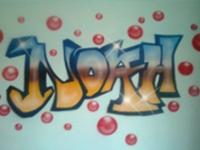Graffiti op muur kinderkamer. Airbrush.
