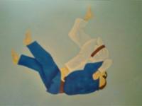Judoka op muur kinderkamer geschilderd.