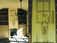 17èeuws tafereel geschilderd op muur schouw.