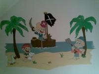 Piraatjes op muur kinderkamer geschilderd